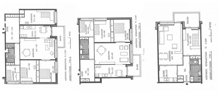 Van links naar rechts de plattegronden van de 5-, 4- en 2-kamerappartementen aan de Staalmeesterslaan / bron: Van der Linden Makelaars
