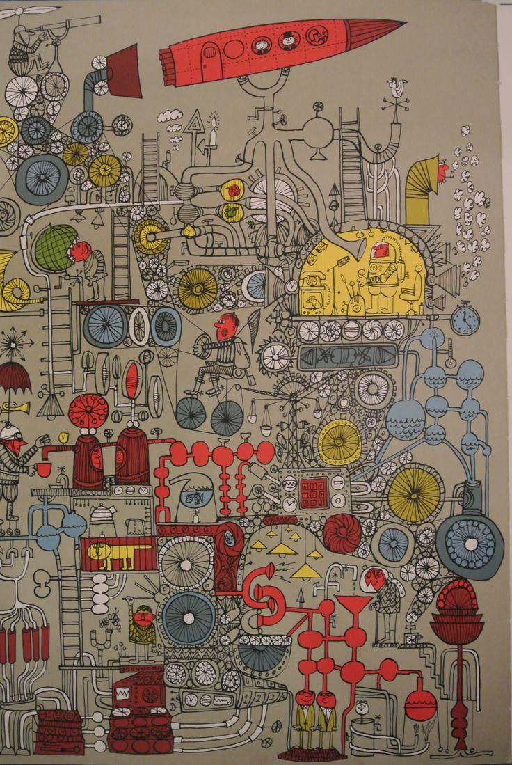 Pagina uit het boek 'De Grote Reis met Opa en Bennie Blauw' met tekeningen van Scapa (Ted Schaap)