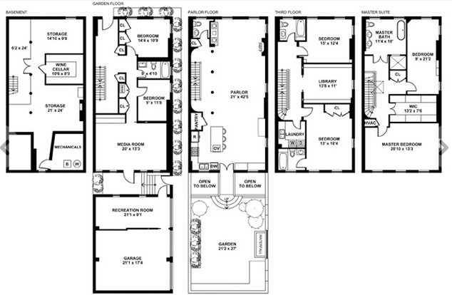 floorplan porn! / bron: Image: Brown Harris Stevens via Dirt Variety