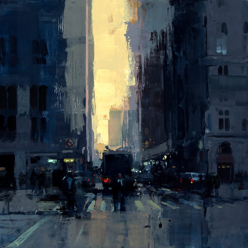 'New York Sunset No. 1', olieverf op paneel - Jeremy Mann