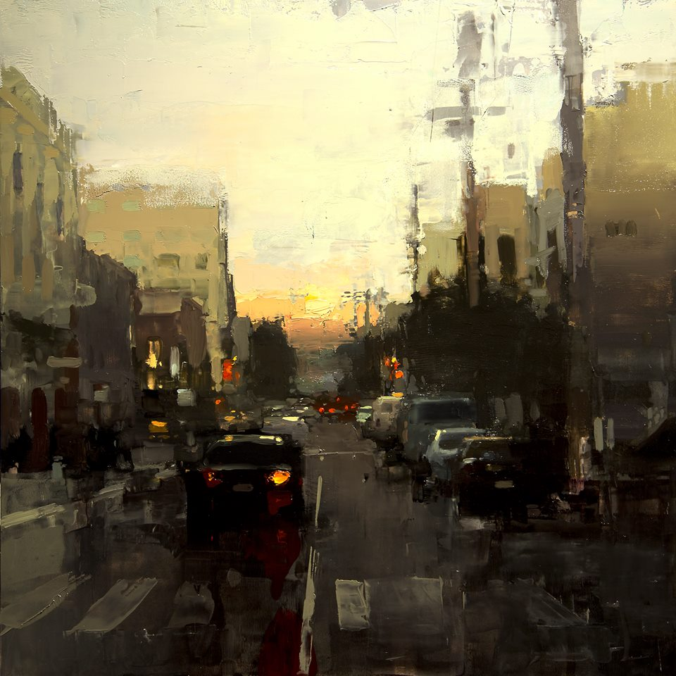 'Last Night in the Mission' Olie op paneel - Jeremy Mann