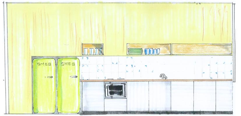 Wandaanzicht ontwerp keuken / © Studio Columbo